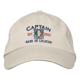 Personalized Irish Flag Anchors Captain Nautical Embroidered Baseball Hat