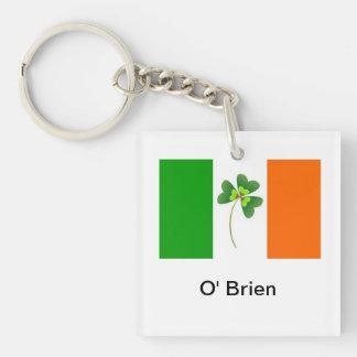 Personalized Irish Flag Keyring Single-Sided Square Acrylic Keychain