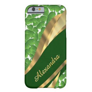 Personalized Irish green shamrock pattern Barely There iPhone 6 Case