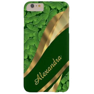 Personalized Irish green shamrock pattern Barely There iPhone 6 Plus Case