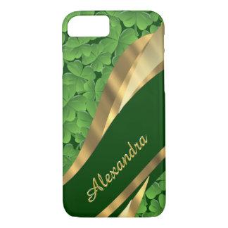 Personalized Irish green shamrock pattern iPhone 8/7 Case