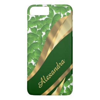 Personalized Irish green shamrock pattern iPhone 8 Plus/7 Plus Case