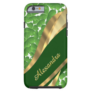 Personalized Irish green shamrock pattern Tough iPhone 6 Case