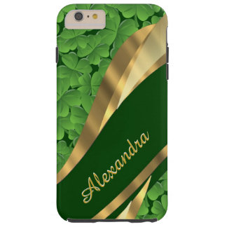 Personalized Irish green shamrock pattern Tough iPhone 6 Plus Case
