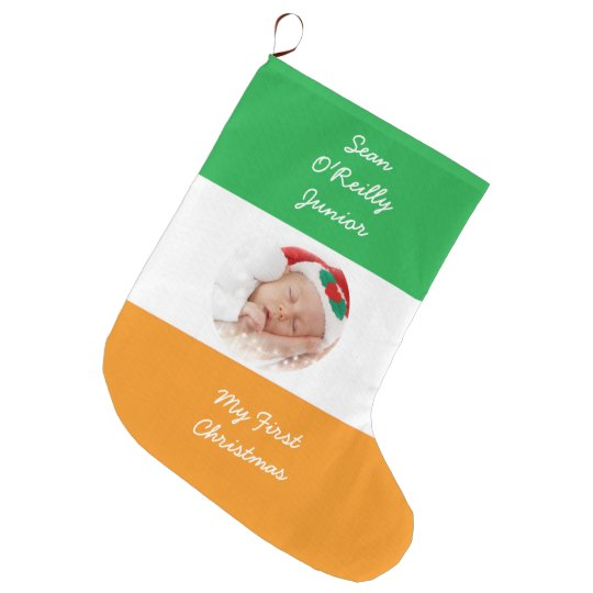 Personalized Irish Heritage Christmas Photo Large Christmas Stocking