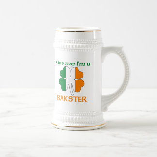 Personalized Irish Kiss Me I'm Bakster 18 Oz Beer Stein
