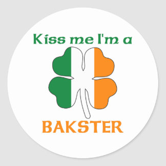 Personalized Irish Kiss Me I'm Bakster Classic Round Sticker
