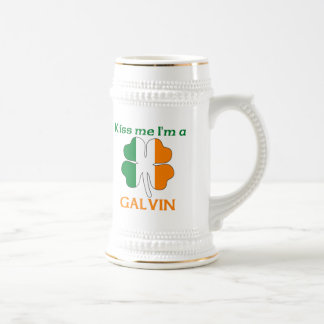 Personalized Irish Kiss Me I'm Galvin 18 Oz Beer Stein
