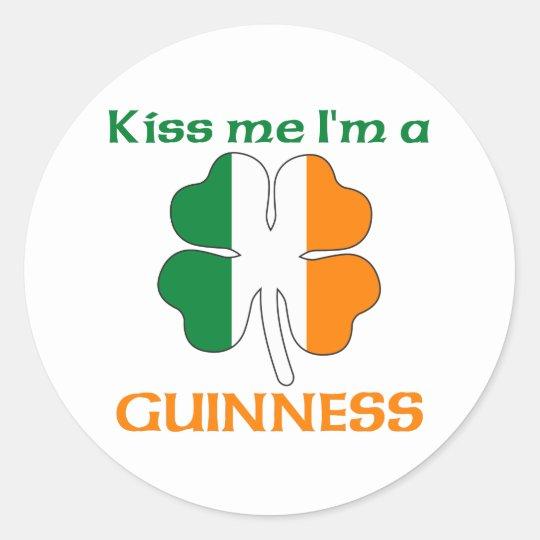 Personalized Irish Kiss Me I'm Guinness Classic Round Sticker