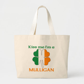 Personalized Irish Kiss Me I'm Mulligan Large Tote Bag