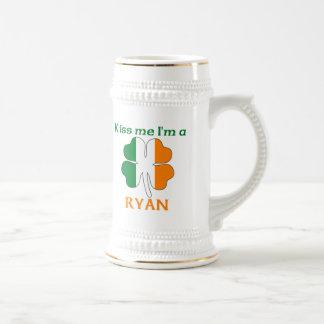 Personalized Irish Kiss Me I'm Ryan Beer Stein