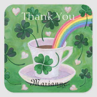 Personalized Irish Lucky Coffee Cup Thank You Stickers