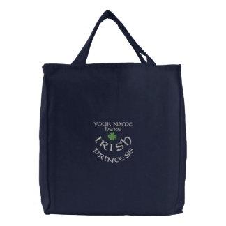 Personalized Irish princess and shamrock Embroidered Tote Bag