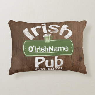 Personalized Irish Pub Old Keg Effect Sign Accent Pillow