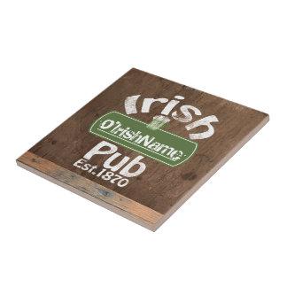 Personalized Irish Pub Old Keg Effect Sign Ceramic Tile
