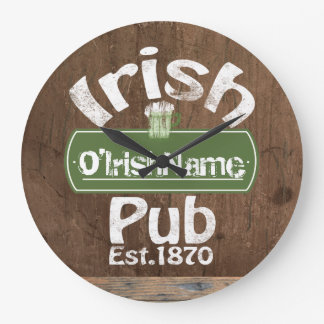 Personalized Irish Pub Old Keg Effect Sign Clocks
