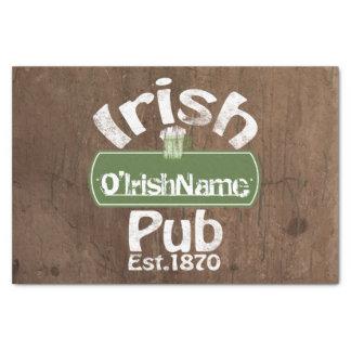 "Personalized Irish Pub Old Keg Effect Sign 10"" X 15"" Tissue Paper"