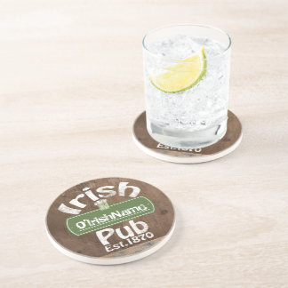 Personalized Irish Pub Old Keg Effect Sign Drink Coaster