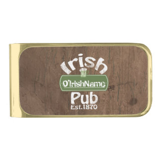 Personalized Irish Pub Old Keg Effect Sign Gold Finish Money Clip
