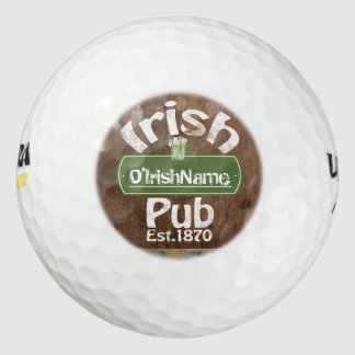 Personalized Irish Pub Old Keg Effect Sign Golf Balls
