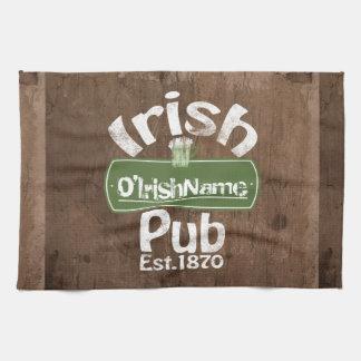 Personalized Irish Pub Old Keg Effect Sign Hand Towel
