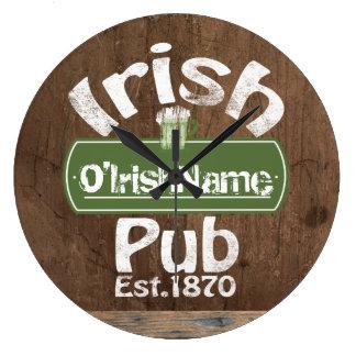 Personalized Irish Pub Old Keg Effect Sign Large Clock