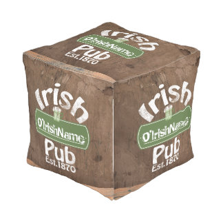 Personalized Irish Pub Old Keg Effect Sign Outdoor Pouf