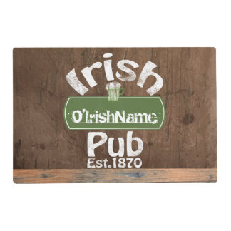 Personalized Irish Pub Old Keg Effect Sign Placemat