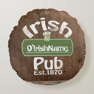 Personalized Irish Pub Old Keg Effect Sign Round Pillow