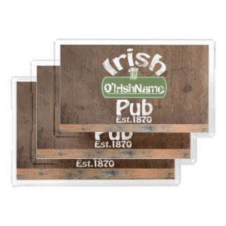 Personalized Irish Pub Old Keg Effect Sign Serving Tray