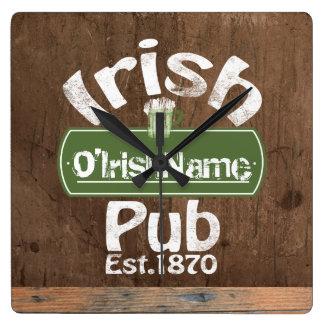 Personalized Irish Pub Old Keg Effect Sign Square Wall Clock