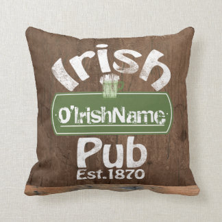Personalized Irish Pub Old Keg Effect Sign Throw Pillow