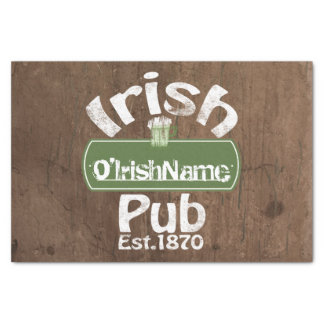 Personalized Irish Pub Old Keg Effect Sign Tissue Paper