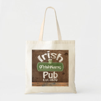 Personalized Irish Pub Old Keg Effect Sign Tote Bag