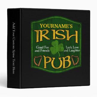Personalized Irish Pub Sign 3 Ring Binder