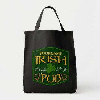 Personalized Irish Pub Sign Grocery Tote Bag
