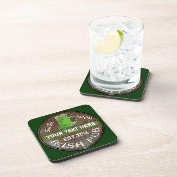 Personalized Irish Pub Sign Beverage Coaster by Paddy_O_Doors at Zazzle