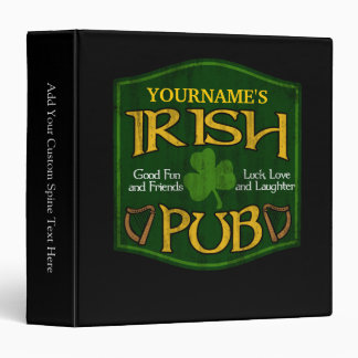 Personalized Irish Pub Sign 3 Ring Binders