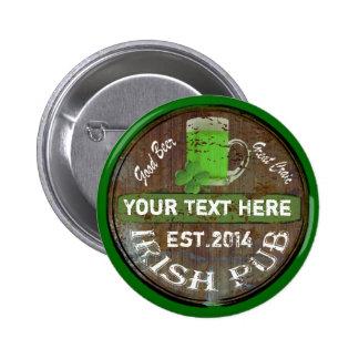 Personalized Irish pub sign Button