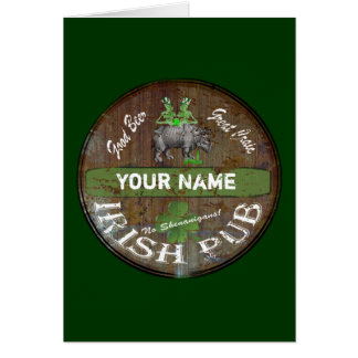 Personalized Irish pub sign Card