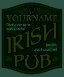 Personalized Irish Pub Sign Crew Neck T-Shirt