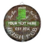 Personalized Irish pub sign Dartboard<br><div class='desc'>Easily Personalize this distressed wooden effect Irish pub sign made to look like an old beer barrel keg and green beer drinking graphic with a lucky green shamrock clover with your own text or name for your St Patrick&#39;s day drinking celebrations. Visit the PADDY_O_DOORS store to for matching products and...</div>