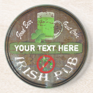 Personalized Irish pub sign Drink Coaster