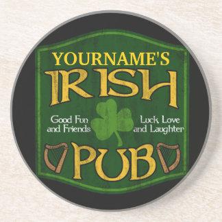 Personalized Irish Pub Sign Drink Coaster