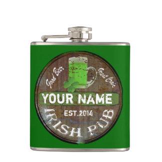 Personalized Irish Pub sign Hip Flasks