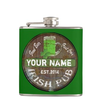 Personalized Irish Pub Sign Hip Flask by Paddy_O_Doors at Zazzle