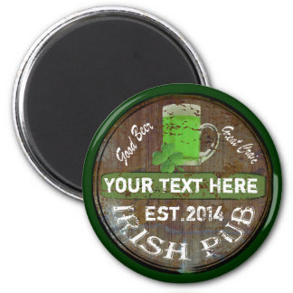 Personalized Irish pub sign 2 Inch Round Magnet