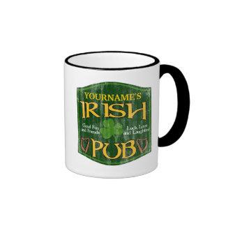 Personalized Irish Pub Sign Coffee Mugs