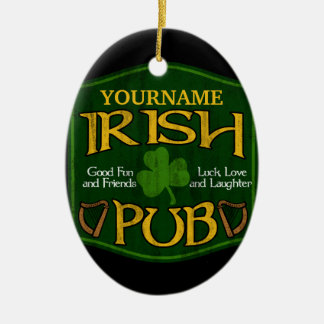 Personalized Irish Pub Sign Double-Sided Oval Ceramic Christmas Ornament