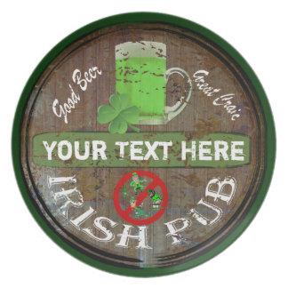 Personalized Irish pub sign Dinner Plates